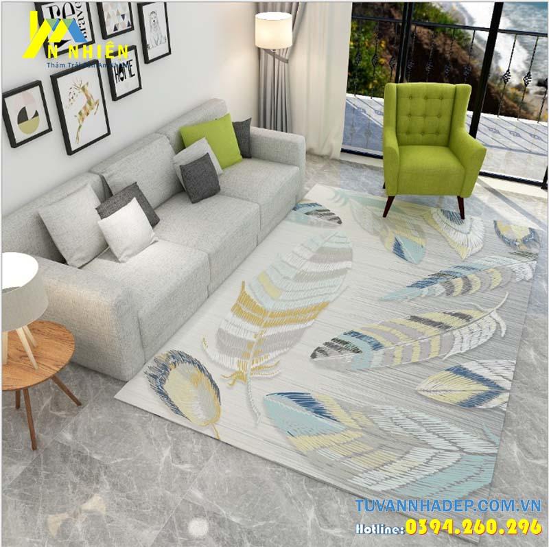 hình ảnh phòng khách đẹp với thảm trải sàn hiện đại