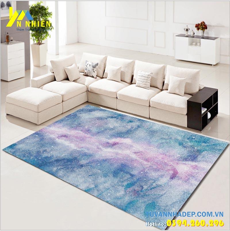 trang trí phòng khách bằng thảm trải sàn hiện đại