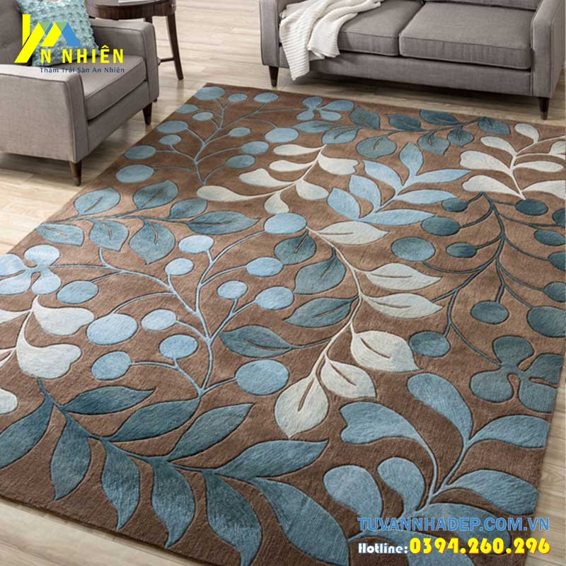 thảm trải sàn phòng khách họa tiết hoa lá