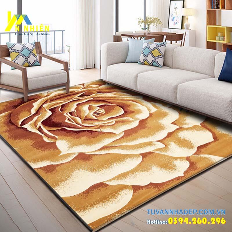 hình ảnh thảm trải sàn họa tiết hoa lá dùng cho phòng khách