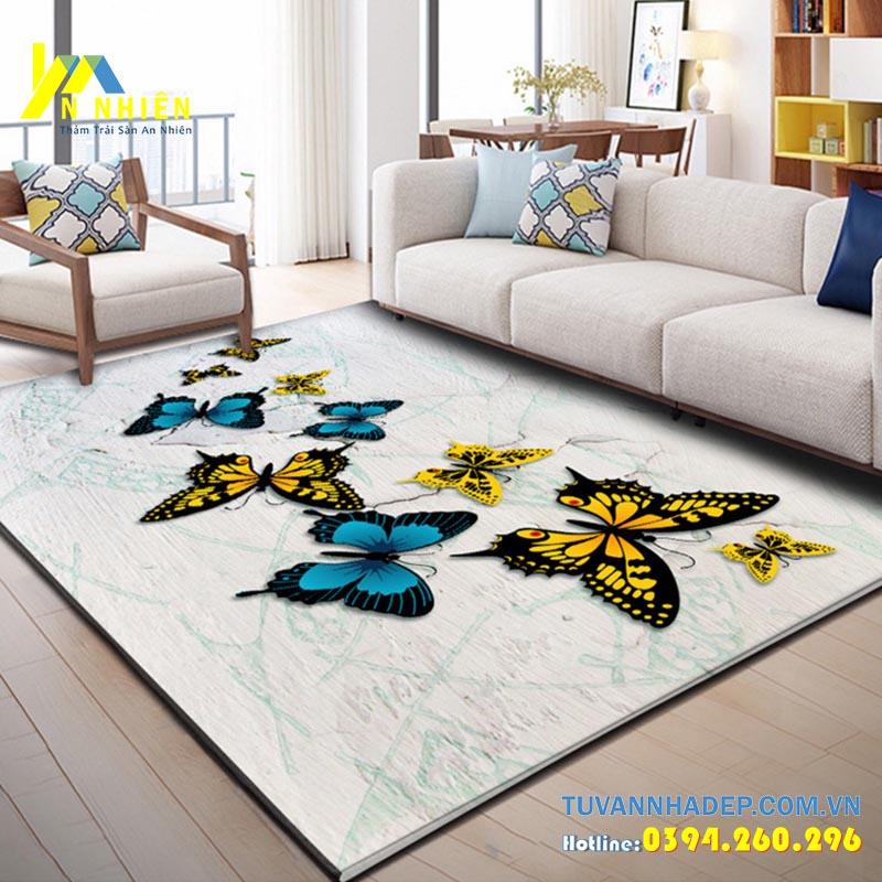 mẫu thảm trải sàn phòng khách họa tiết hoa bướm