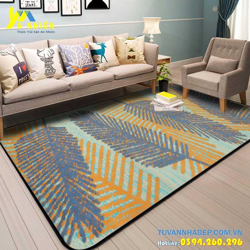 mẫu thảm trải sàn họa tiết hình lá phù hợp cho phòng khách chung cư