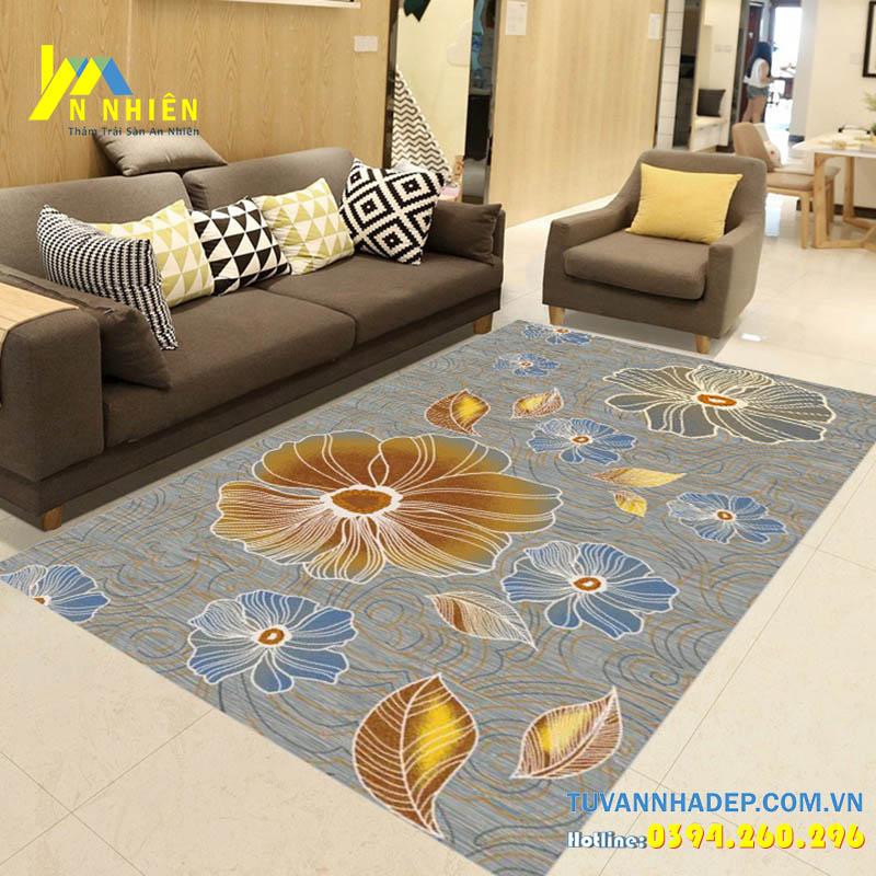 trang trí phòng khách bằng thảm trải sàn họa tiết hoa lá