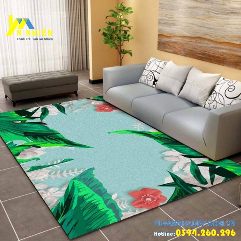 thảm trải sàn xanh họa tiết hoa lá cho phòng khách