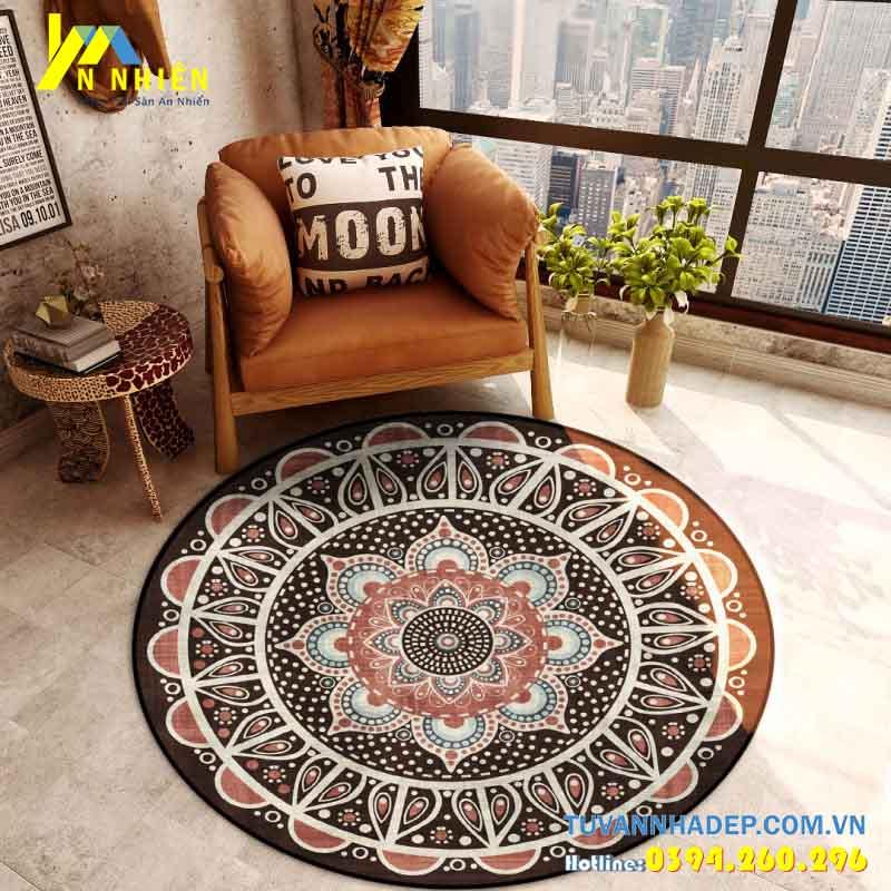 thảm trải sàn phòng khách hình tròn