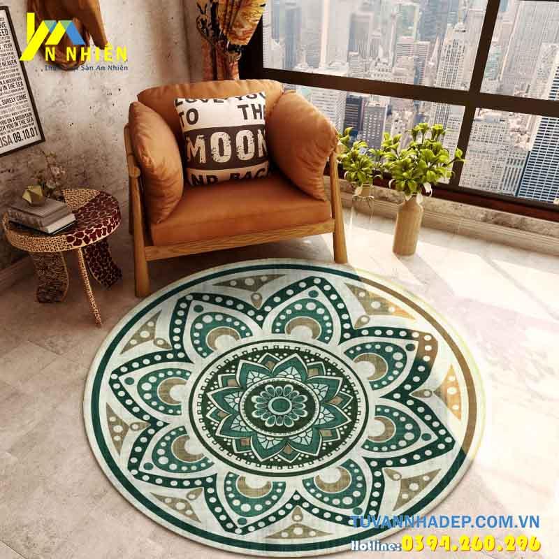 thảm trải sàn phòng khách màu xanh