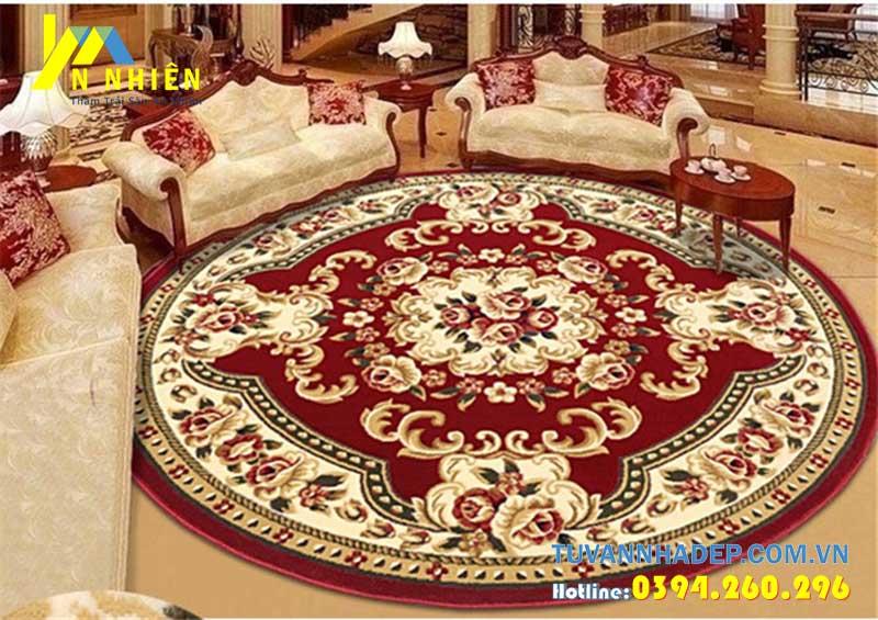 mẫu thảm trải sàn phòng khách tân cổ điển hình tròn