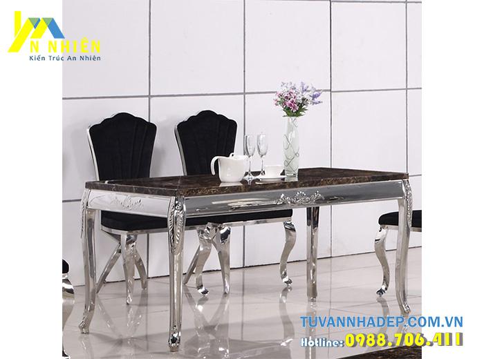 bàn ăn chữ nhật bằng inox