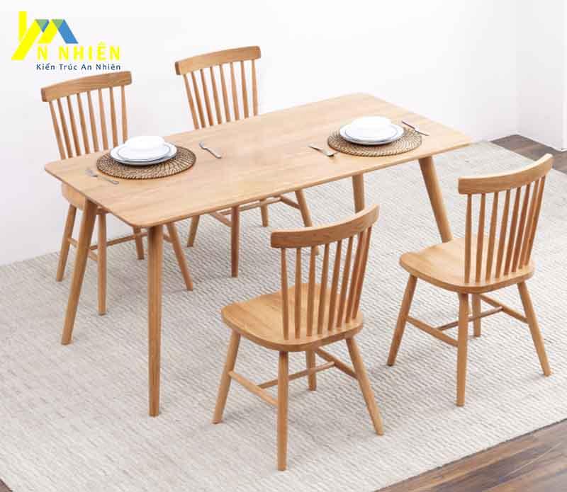 hình ảnh bàn ghế ăn gỗ sôi 4 ghế