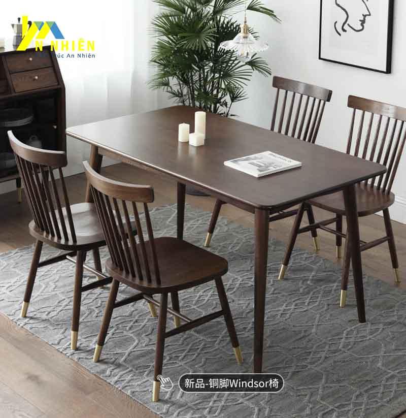 bàn ăn gỗ sồi màu đen
