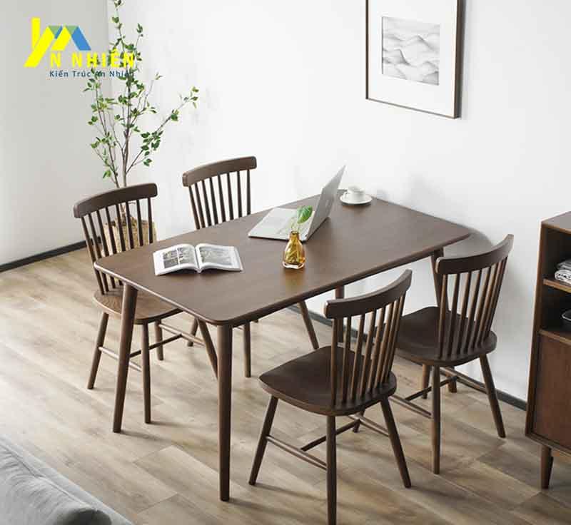 bàn ăn 4 ghế gỗ sồi