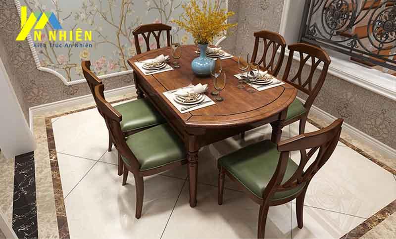 mẫu bàn ăn gỗ sồi 6 ghế đẹp