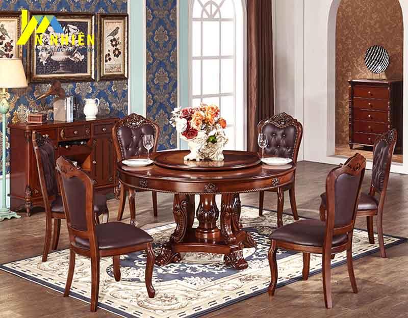 hình ảnh bàn ăn 6 ghế sang trọng gỗ sồi