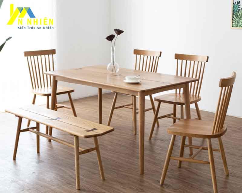 mẫu bàn ăn 8 ghế gỗ sồi