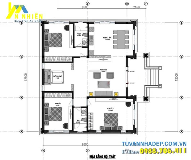 Sắp đặt và tổ chức bên trong của mẫu biệt thự 1 tầng 120m2 3 phòng ngủ