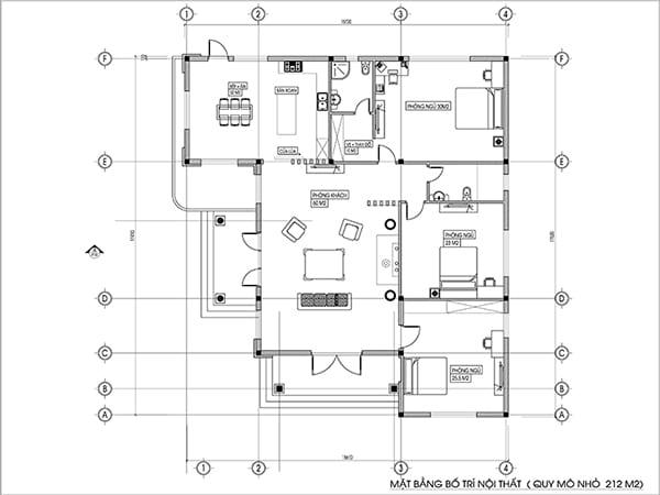 bản vẽ công năng căn biệt thự 1 tầng 3 phòng ngủ đẹp