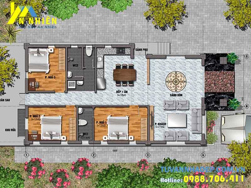 mặt bằng biệt thự 1 tầng 125m2 3 phòng ngủ
