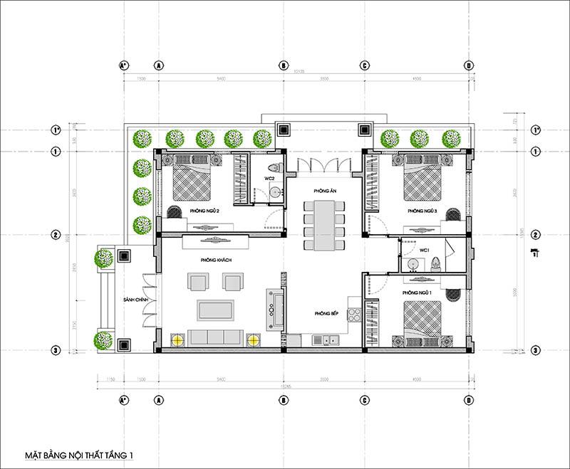 mặt bằng biệt thự 1 tầng 3 phòng ngủ 170m2