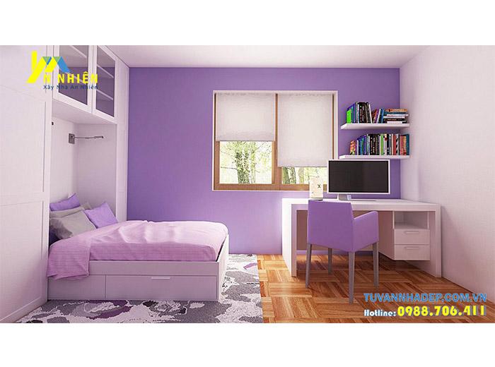 phòng ngủ mơ mộng với gam màu tím