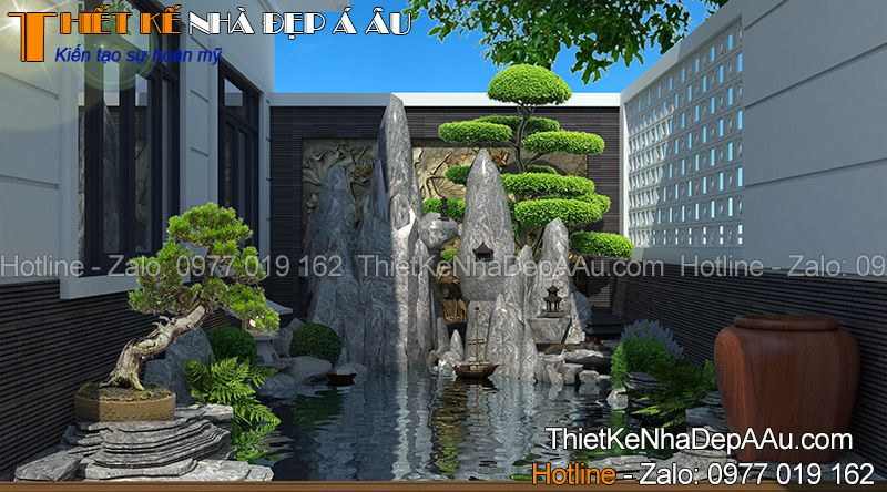 hình ảnh phối cảnh sân vườn