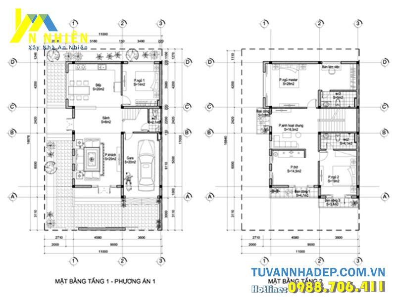 mặt bằng nhà 2 tầng 105m2