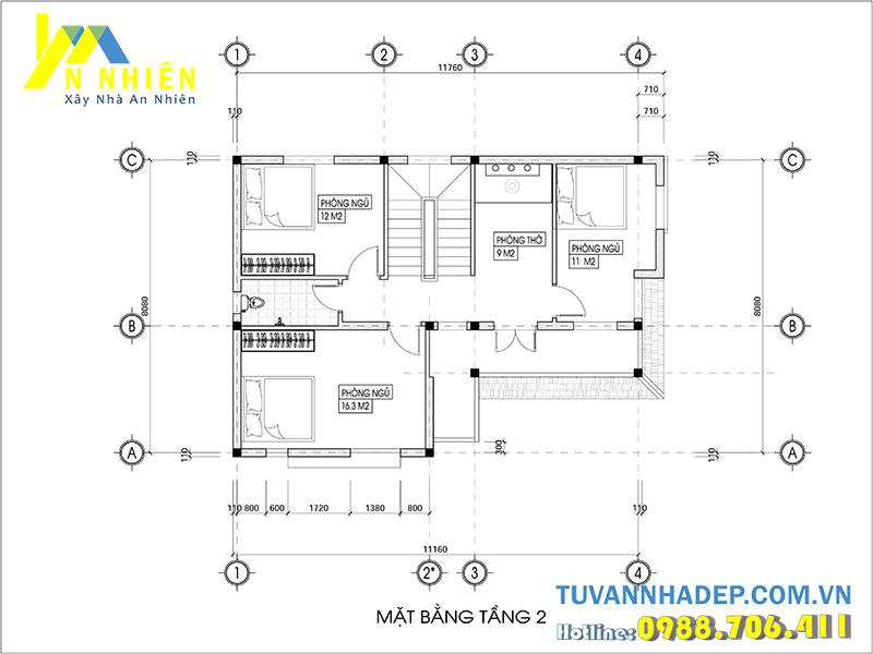 mặt bằng tầng 2 biệt thự 2 tầng mái thái 100m2