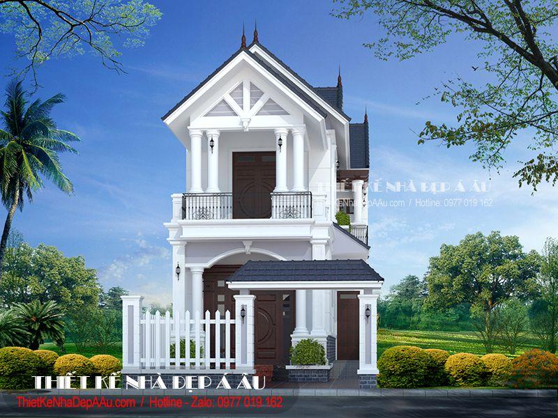 Thiết kế nhà 2 tầng mái thái mặt tiền 5m