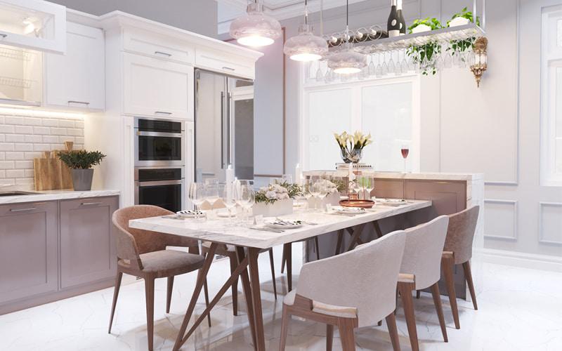 Nội thất phòng bếp với tủ bếp hiện đại