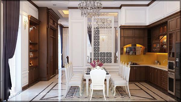 không gian bếp được thiết kế sang trọng