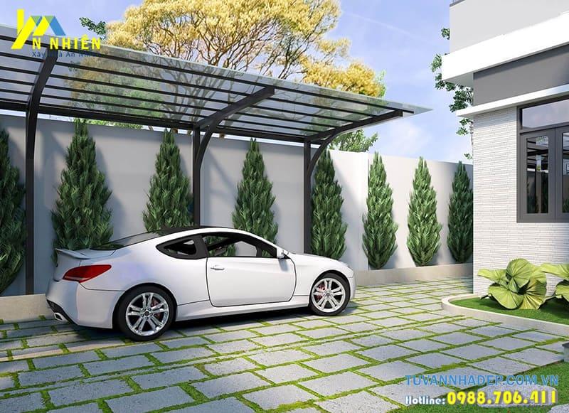 Ngôi nhà với khoảng sân rộng làm lán che ô tô