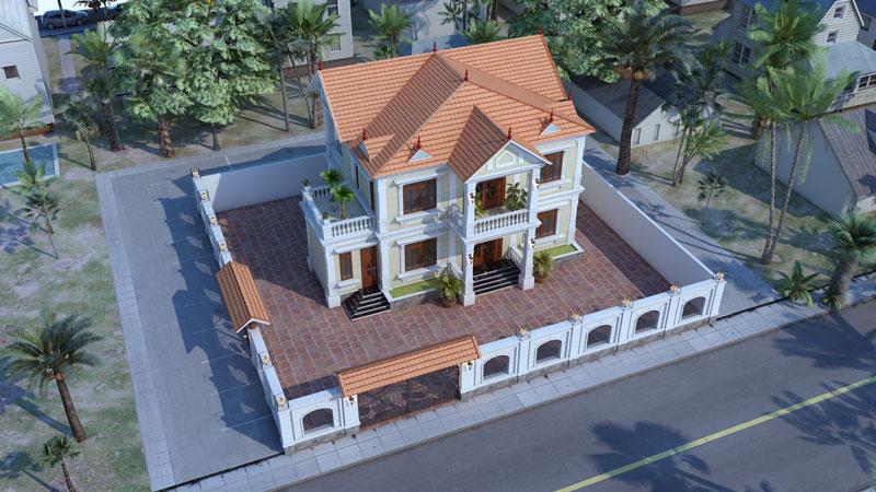 Biệt thự mái thái đẹp 2 tầng