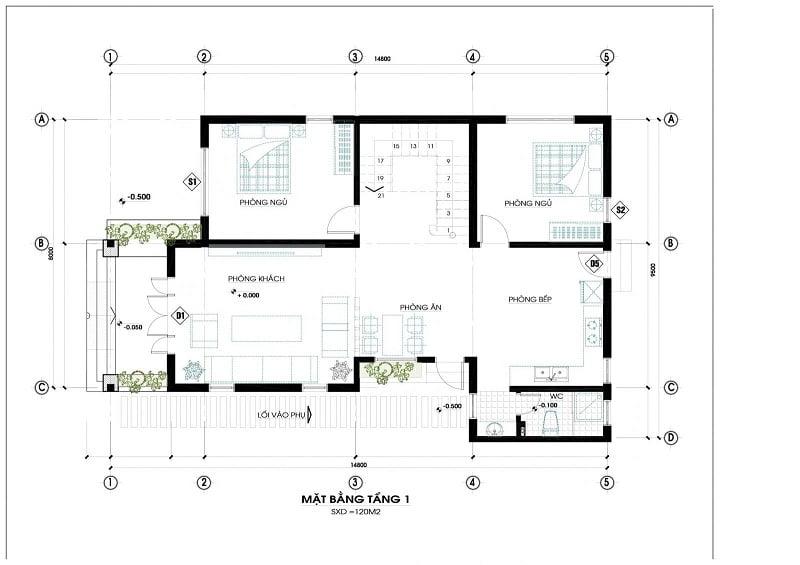 Bản vẽ thiết kế nội thất căn biệt thự 2 tầng 8x15m