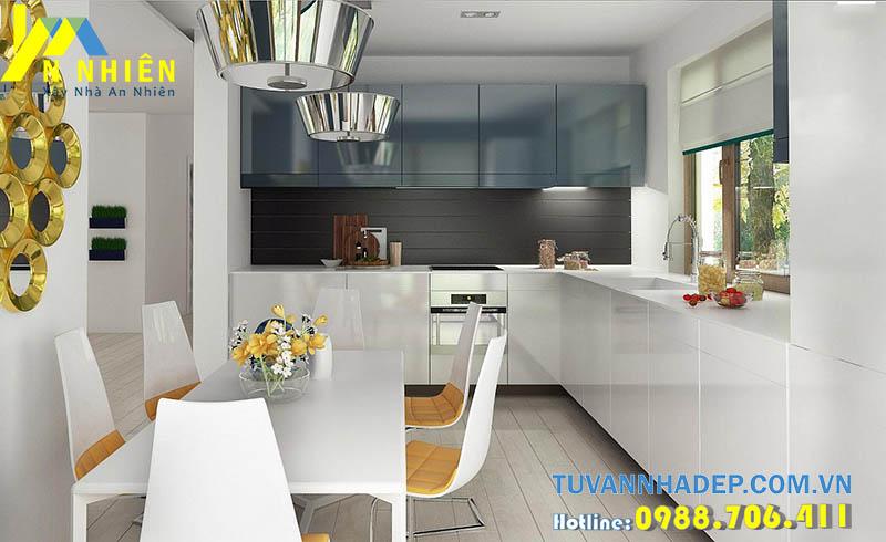 phòng bếp và ăn thông với không gian phòng khách