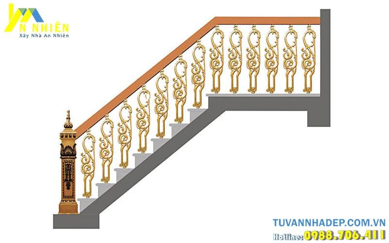 lắp đặt lan can cầu thang bằng nhôm đúc