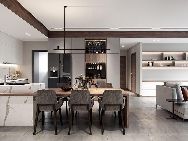 Không gian nhà bếp căn hộ chung cư 69 Vũ Trọng Phụng