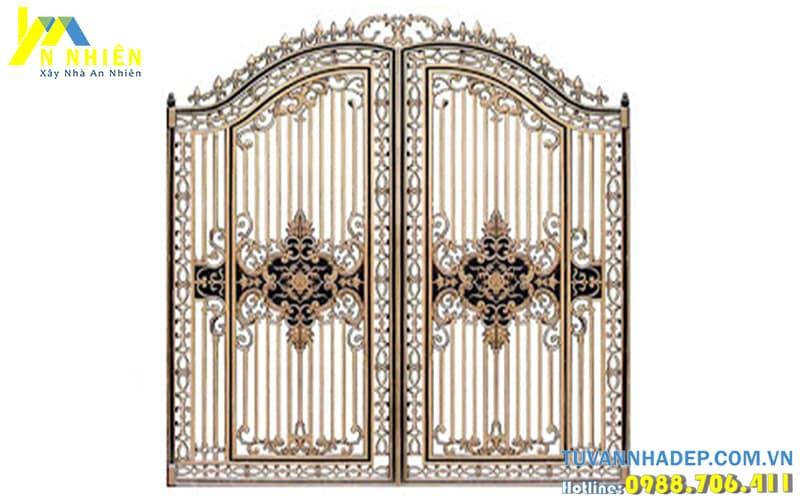 cổng nhôm đúc đẹp 2 cánh