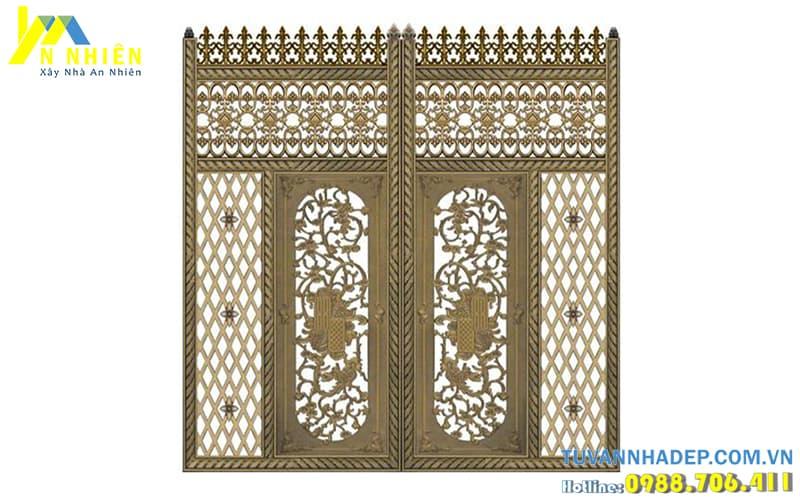 mẫu cổng nhôm đúc cho nhà cổ điển