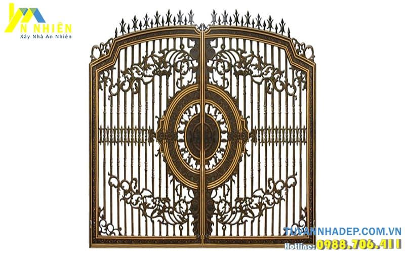 cổng 2 cánh bằng nhôm đúc