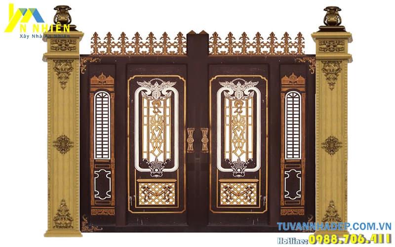 mẫu cổng nhôm đúc 4 đẹp