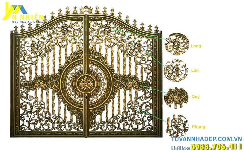 cổng nhôm đúc 2 cánh đẹp