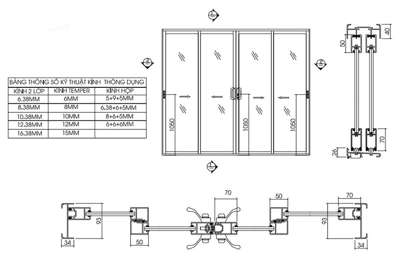 bản vẽ kỹ thuật cửa lùa nhôm xingfa 93