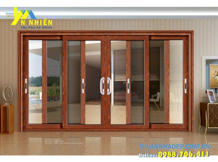 cửa lùa vân gỗ việt pháp 2600