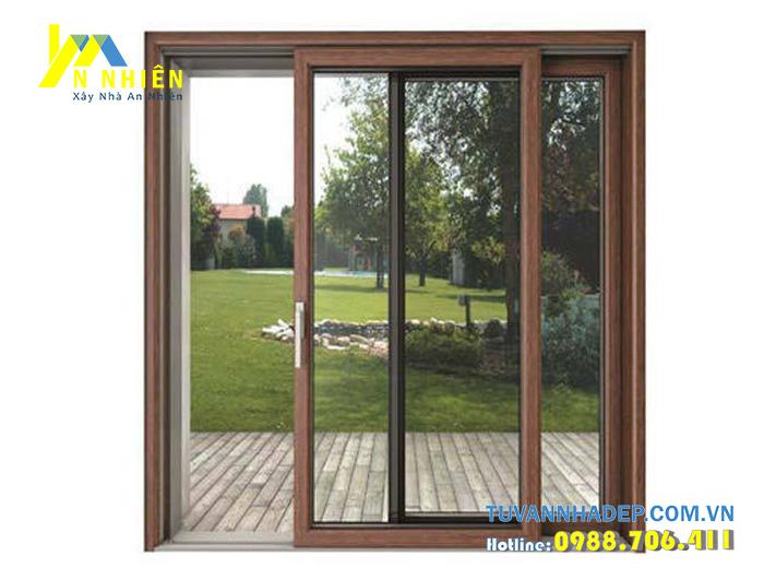 cửa lùa nhôm kính vân màu gỗ