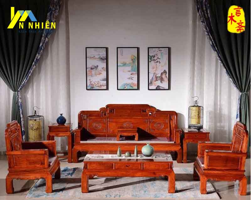 hình ảnh ghế phòng khách bằng gỗ gõ đỏ
