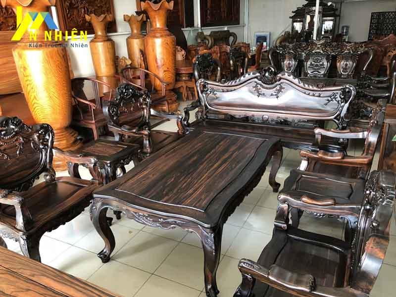 hình ảnh bàn ghế gỗ mun đen sang trọng