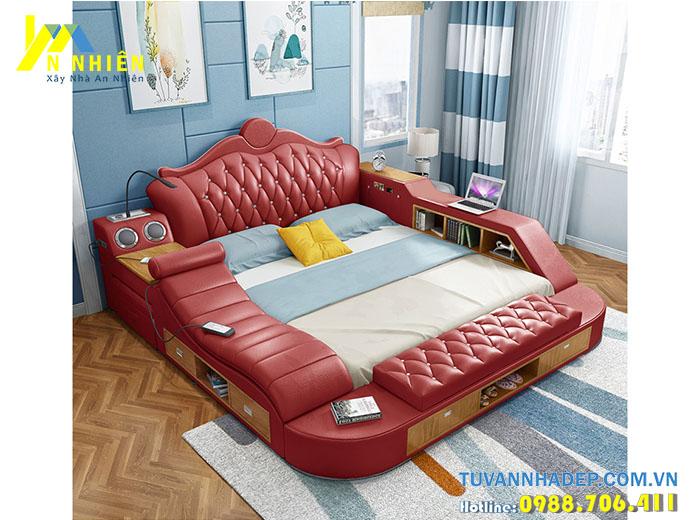 giường thông minh bọc da có ngăn kéo