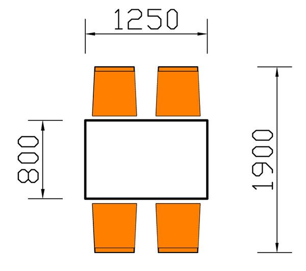 kích thước bàn ăn chữ nhật 4 người