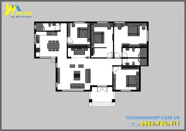 Mặt bằng biệt thự vườn 1 tầng 175m2