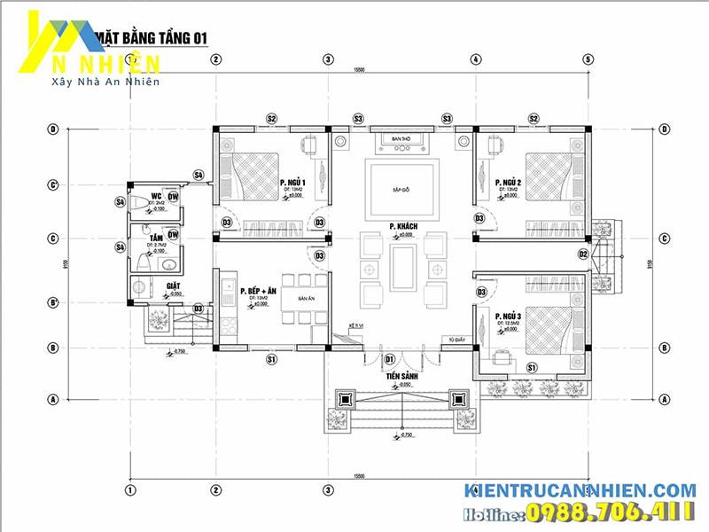 Mặt bằng căn biệt thự 1 tầng 3 phòng ngủ diện tích sàn 142m2