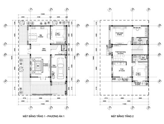 Mặt bằng biệt thự hiện đại 2 tầng mặt tiền 9m